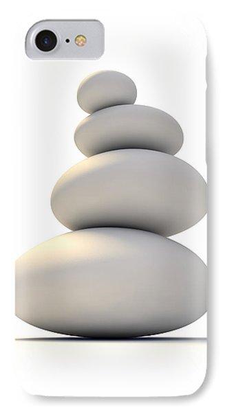 White Zen Stones IPhone Case by Allan Swart