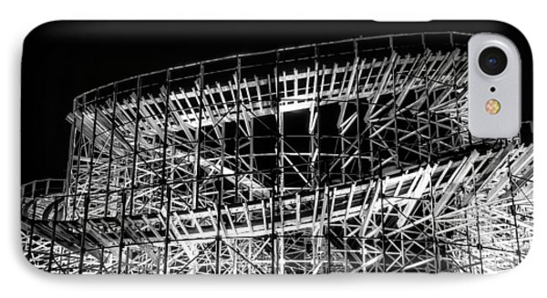 Wildwood Roller Coaster At Night In Black And White IPhone Case