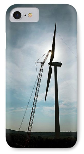 Wind Turbine Assembly IPhone Case by Jim West