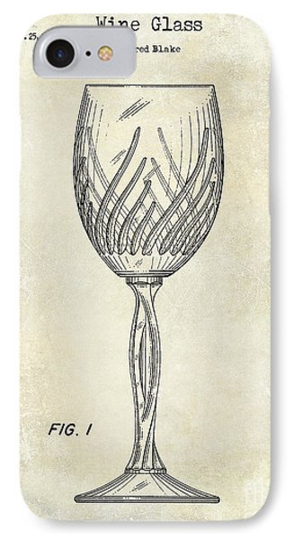 Wine Glass Patent Drawing IPhone Case by Jon Neidert