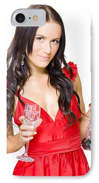 Winery Woman With Red Wine Glass And Decanter IPhone Case