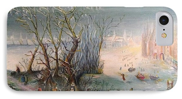 IPhone Case featuring the painting Winter Scene by Egidio Graziani