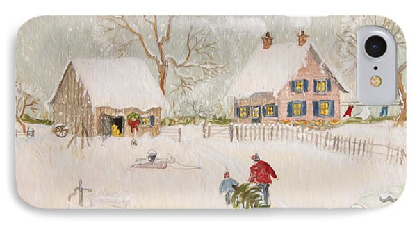 Winter Scene Of A Farm With People/ Digitally Altered IPhone Case by Sandra Cunningham