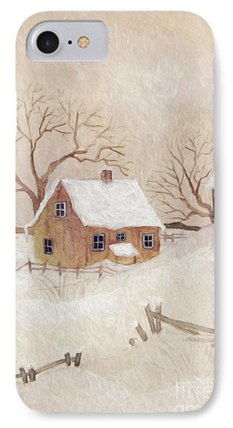 Winter Scene With Farmhouse/ Digitally Altered IPhone Case by Sandra Cunningham