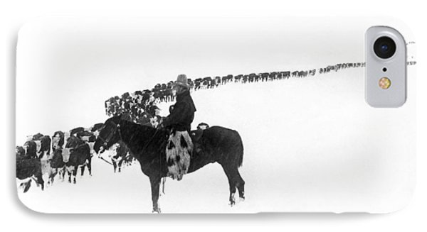Cow iPhone 7 Case - Wintertime Cattle Drive by Underwood Archives  Charles Belden