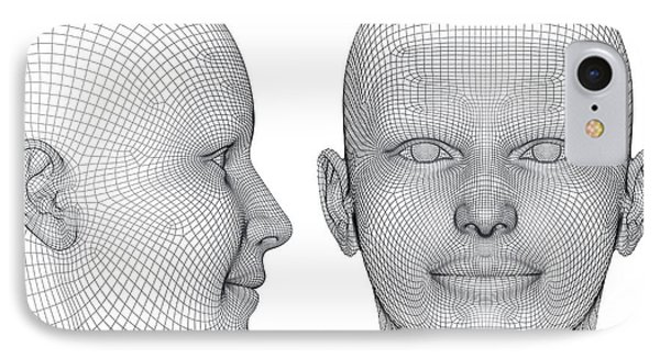 Wireframe Heads IPhone Case by Alfred Pasieka