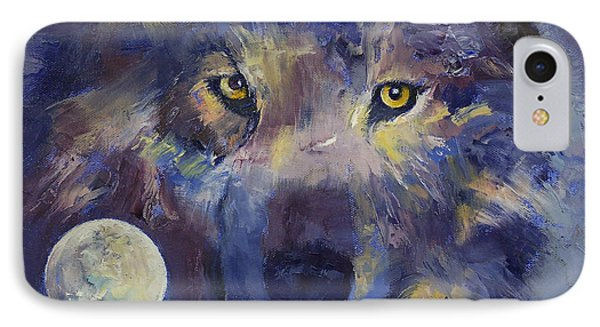 Grey Wolf Moon IPhone Case by Michael Creese