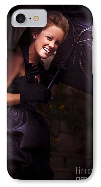 Woman And Broken Umbrella IPhone Case