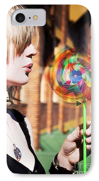Woman Blowing Windmill Toy IPhone Case