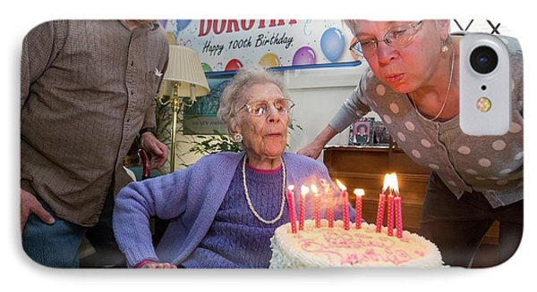 Woman Celebrating 100th Birthday IPhone Case by Jim West