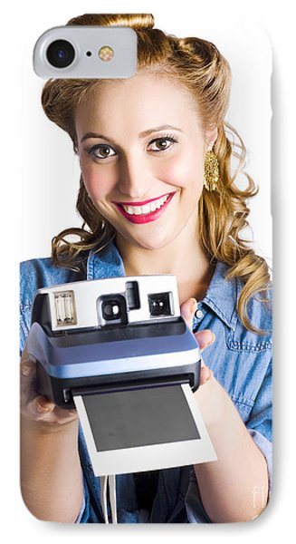 Woman Holding Instant Camera IPhone Case by Jorgo Photography - Wall Art Gallery
