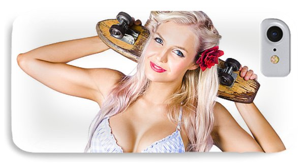 Woman Holding Skateboard IPhone Case by Jorgo Photography - Wall Art Gallery