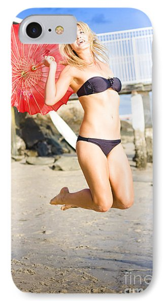 Woman In Bikini Jumping IPhone Case by Jorgo Photography - Wall Art Gallery