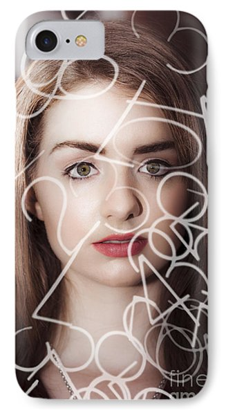Woman Looking At Numbers IPhone Case by Jorgo Photography - Wall Art Gallery