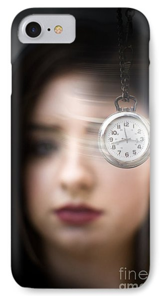Woman Looking At Pocket Watch IPhone Case by Jorgo Photography - Wall Art Gallery