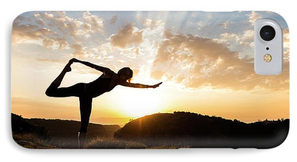 Woman Performing Standing Bow Pulling IPhone Case by Panoramic Images