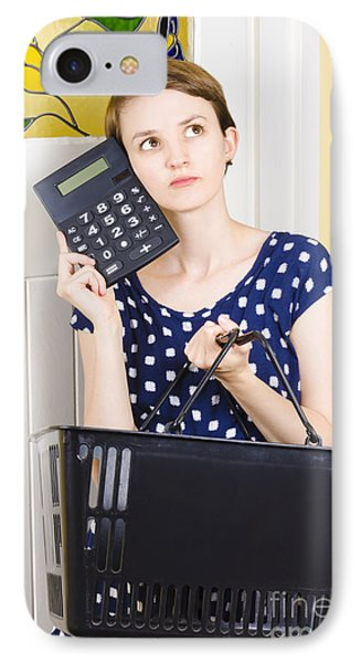 Woman Planning Shopping Budget With Calculator IPhone Case by Jorgo Photography - Wall Art Gallery