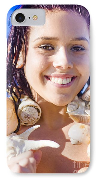 Woman Wearing Sea Shells IPhone Case by Jorgo Photography - Wall Art Gallery