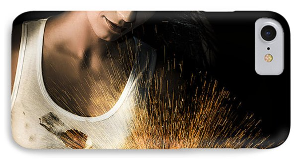 Woman With Angle Grinder Spraying Sparks IPhone Case by Jorgo Photography - Wall Art Gallery