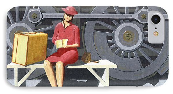 Woman With Locomotive IPhone Case by Gary Giacomelli