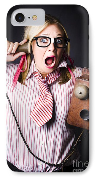 Worker In Shock During Bad News Communication IPhone Case by Jorgo Photography - Wall Art Gallery