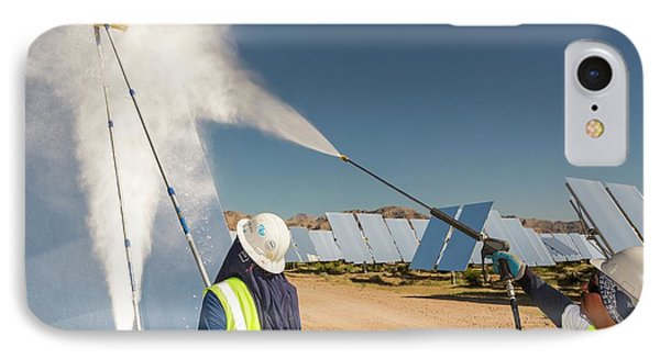 Workers Washing The Heliostats IPhone Case by Ashley Cooper