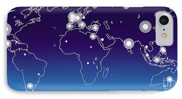 World Economies Map IPhone Case by Atiketta Sangasaeng
