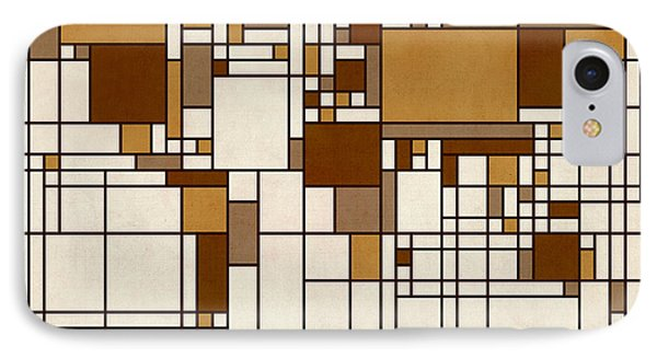 World Map Abstract Mondrian Style Phone Case by Michael Tompsett