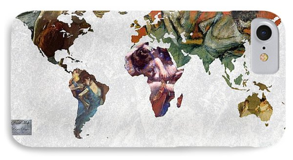 World Map  Degas 1 IPhone Case by John Clark