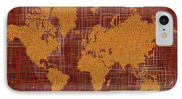 World Map Rettangoli In Orange Red And Brown IPhone Case by Eleven Corners