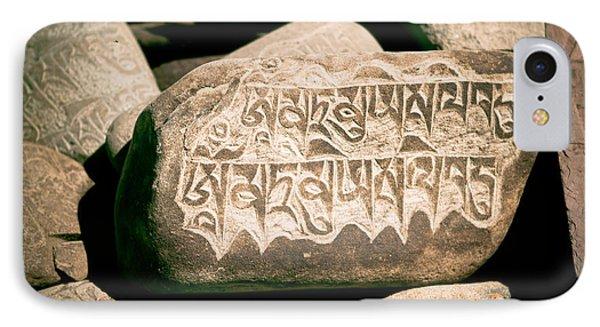 writing on the Tibetan language and Sanskrit at stone Phone Case by Raimond Klavins