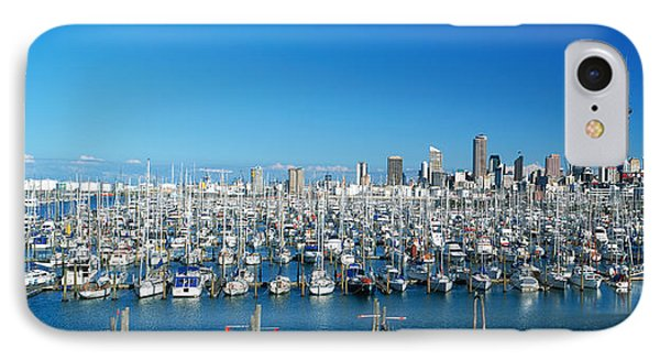 Yachts At Waitemata Harbor, Sky Tower IPhone Case by Panoramic Images