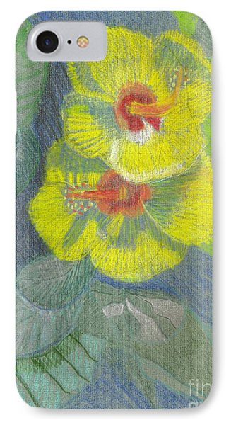 IPhone Case featuring the drawing Yellow Hibiscus by Rod Ismay