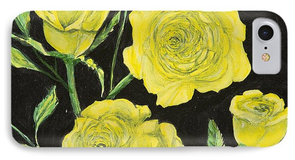 IPhone Case featuring the painting Yellow Roses by Cathy Long