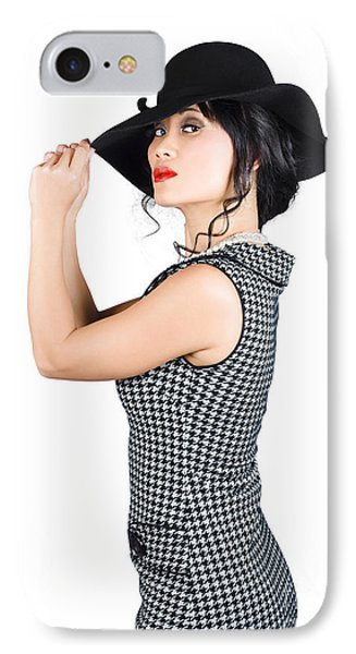 Young Beautiful Asian Brunette In Retro Dress IPhone Case by Jorgo Photography - Wall Art Gallery