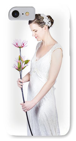 Young Bride With Flowers IPhone Case