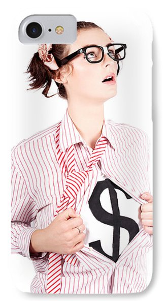 Young Businesswoman Super Hero Showing Dollar Sign IPhone Case