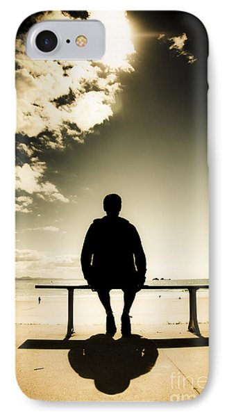 Young Man In Silhouette Sitting In The Sun IPhone Case by Jorgo Photography - Wall Art Gallery