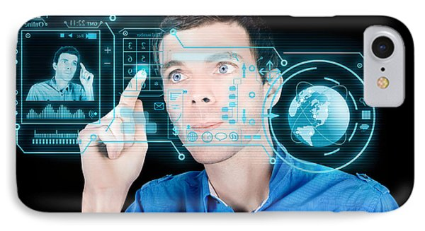 Young Man Using Futuristic Virtual Interface IPhone Case by Jorgo Photography - Wall Art Gallery