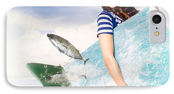 Young Navy Pin Up Model With Seafood Smorgasboard IPhone Case by Jorgo Photography - Wall Art Gallery