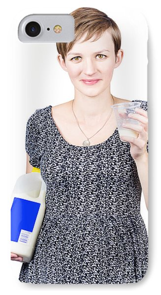Young Pregnant Woman Drinking Fresh Milk IPhone Case