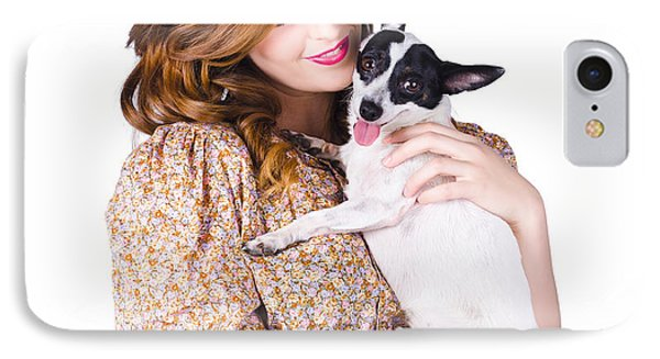 Young Woman Holding Dog IPhone Case by Jorgo Photography - Wall Art Gallery