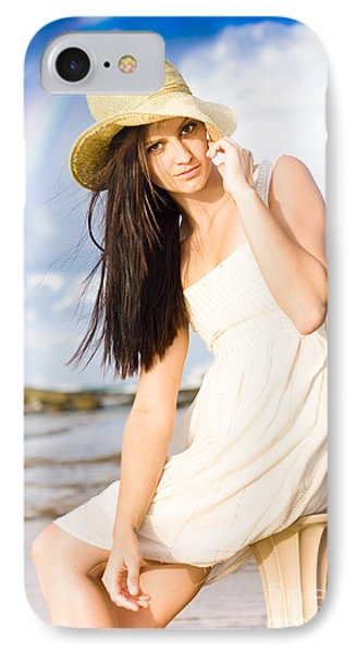 Young Woman Relaxing By The Sea IPhone Case