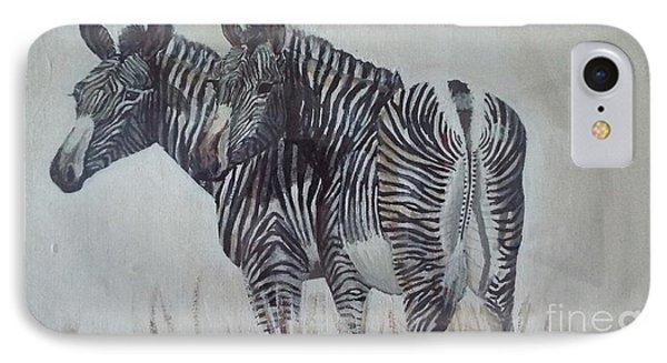 Zebras IPhone Case by Audrey Van Tassell