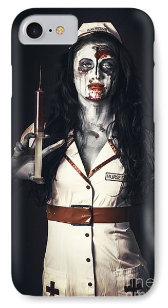 Zombie Nurse Holding Bloody Euthanasia Syringe IPhone Case by Jorgo Photography - Wall Art Gallery