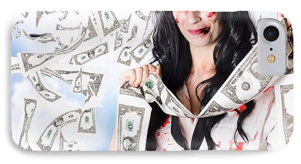 Zombie Person With Falling 1 Dollar Us Bank Notes IPhone Case by Jorgo Photography - Wall Art Gallery