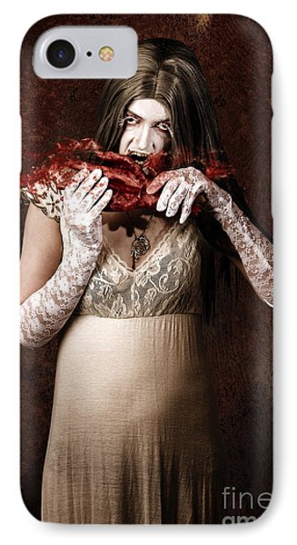 Zombie Vampire Woman Eating Human Hand IPhone Case by Jorgo Photography - Wall Art Gallery