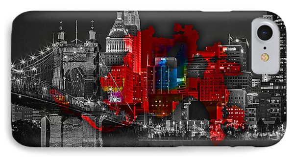 Cincinnati Map And Skyline Watercolor IPhone Case by Marvin Blaine