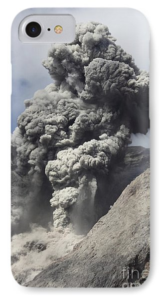 Ash Cloud Rises From Crater Of Batu Phone Case by Richard Roscoe