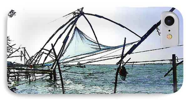 Fishing Nets On The Sea Coast In Alleppey IPhone Case by Ashish Agarwal